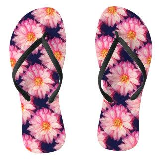 Pink Dahlia Flower flip Flops