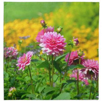 Pink dahlia flower garden napkins