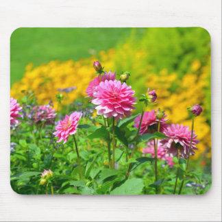Pink dahlia flower garden mouse pad