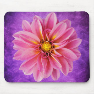 Pink Dahlia Flower on Purple Watercolor Background Mouse Mat