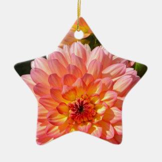 Pink dahlia flowers in bloom ceramic star decoration