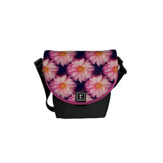 Pink Dahlia Flowers Mini Messenger Bag