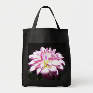 Pink Dahlia Grocery Tote Canvas Bag