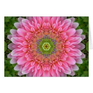 Pink Dahlia Healing Mandala Card