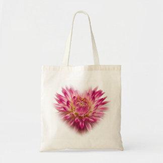Pink Dahlia Heart  Budget Totebag Bag