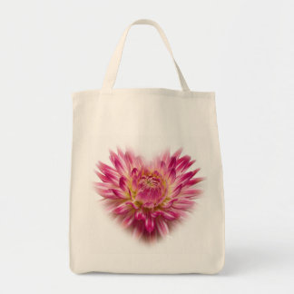Pink Dahlia  Heart Totebag Tote Bag