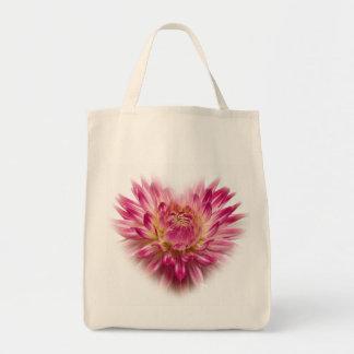 Pink Dahlia  Heart Totebag Tote Bag