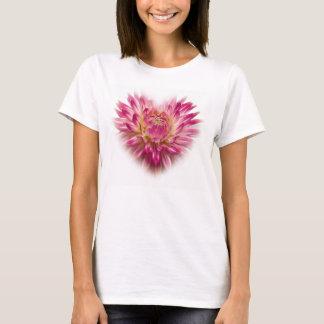 Pink Dahlia Heart Tshirt