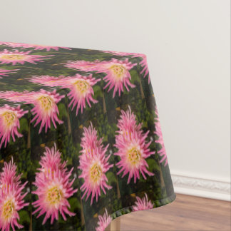 Pink dahlia, pretty tablecloth
