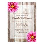Pink Dahlia Rustic Barn Wood Bridal Shower 13 Cm X 18 Cm Invitation Card