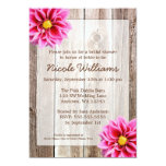 Pink Dahlia Rustic Barn Wood Bridal Shower Personalized Invitations