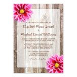 Pink Dahlia Rustic Barn Wood Wedding Invitations