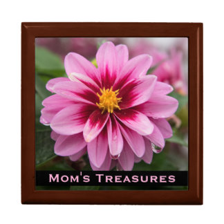 Pink Dahlia Treasure Box for Mom Large Square Gift Box