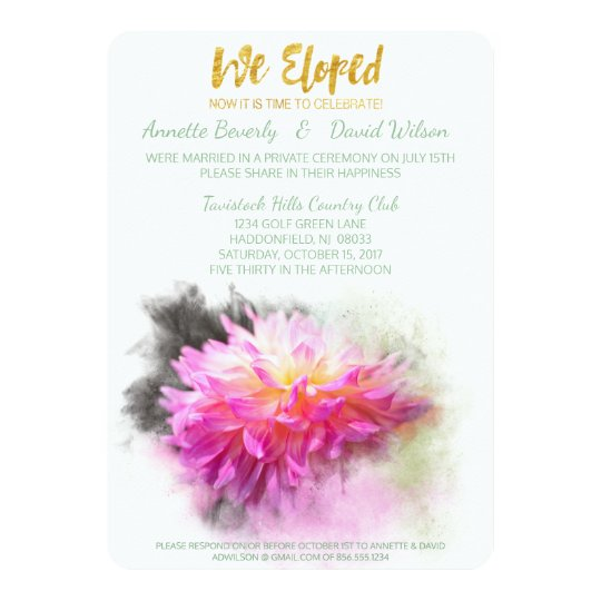 Pink Dahlia We Eloped Post Wedding Party Invite