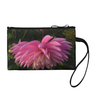pink dahlia with dew change purse