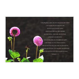 Pink Dahlia with Ecclesiastes Verse Canvas Canvas Print
