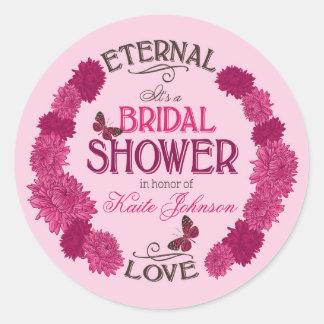 Pink Dahlia Wreath Modern Bridal Shower Label Round Sticker