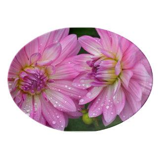 Pink dahlias porcelain serving platter