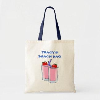 Pink Daiquiris Summer Beach Drinks Custom Name Budget Tote Bag
