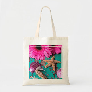 Pink Daises And Seahorse With Starfish