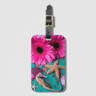 Pink Daises And Seahorse With Starfish Luggage Tag
