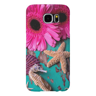 Pink Daises And Seahorse With Starfish Samsung Galaxy S6 Cases