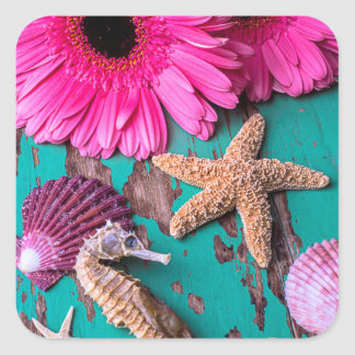 Pink Daises And Seahorse With Starfish Square Sticker