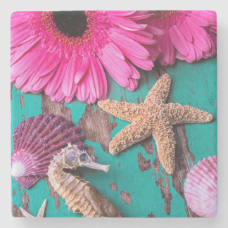 Pink Daises And Seahorse With Starfish Stone Coaster