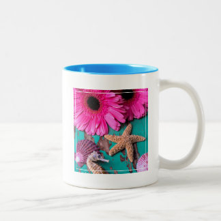 Pink Daises And Seahorse With Starfish Two-Tone Coffee Mug