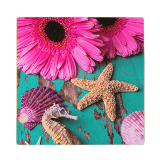 Pink Daises And Seahorse With Starfish Wood Coaster