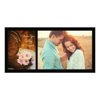 Pink Daisies and Cowboy Boots Wedding Thank You Card