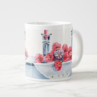 Pink Daisies and Crystal Jumbo Mug