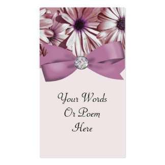Pink Daisies Bow & Ribbon Wedding Business Card Template