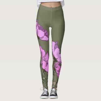 Pink Daisies Flowers All Over Print Leggings