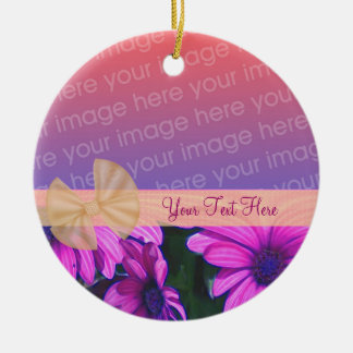 Pink Daisies Ribbon Your Photo Ornament