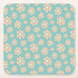 Pink Daisies Square Paper Coaster