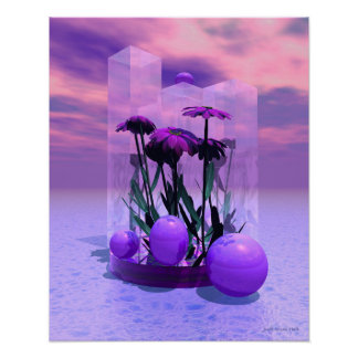 Pink Daisies Surreal Poster