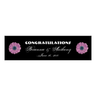 Pink Daisies Wedding or Engagement Banner Poster
