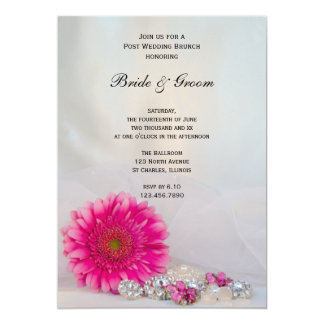 """Pink Daisy and Buttons Post Wedding Brunch 5"""" X 7"""" Invitation Card"""