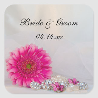 Pink Daisy and Buttons Wedding Envelope Seals Square Sticker