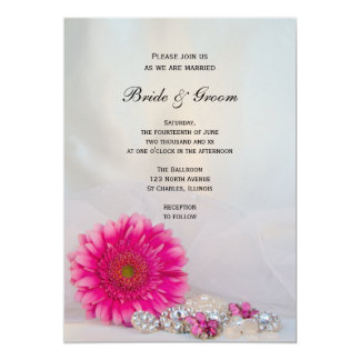 """Pink Daisy and Buttons Wedding Invitation 5"""" X 7"""" Invitation Card"""