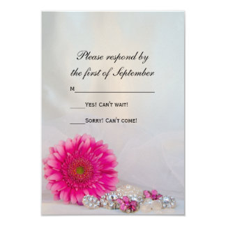 Pink Daisy and Buttons Wedding RSVP Response 3.5x5 Paper Invitation Card