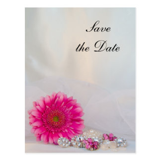 Pink Daisy and Buttons Wedding Save the Date Postcard