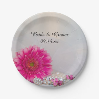 Pink Daisy and Buttons Wedding 7 Inch Paper Plate