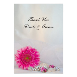 Pink Daisy and Buttons Wedding Thank You Notes 3.5x5 Paper Invitation Card