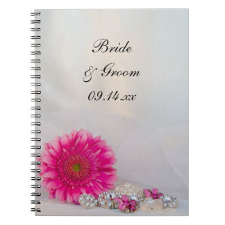 Pink Daisy and Diamond Buttons Wedding Note Book