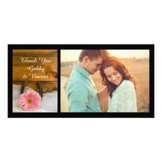 Pink Daisy and Horseshoe Western Wedding Thank You Card