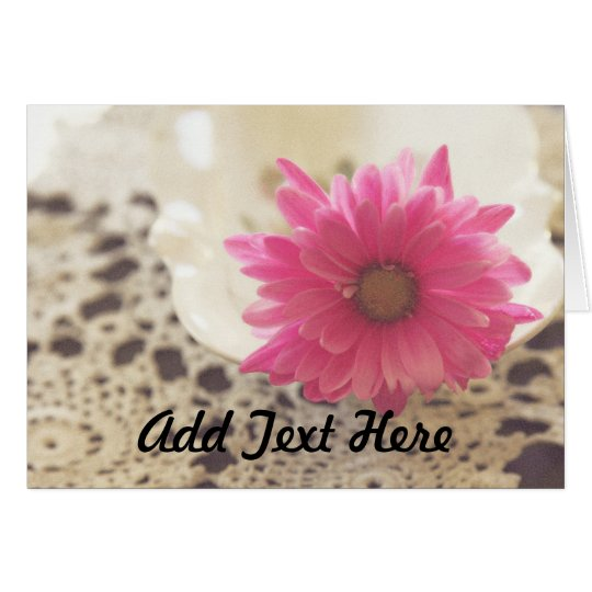 Pink Daisy and Lace Card