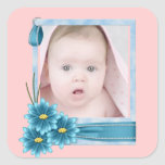 pink Daisy Baby Girl Personalised Photogift Square Sticker