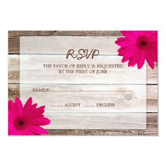 Pink Daisy Barn Wood Wedding RSVP Response Card 9 Cm X 13 Cm Invitation Card